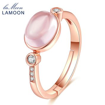 LAMOON Oval Shape 100% Natural Pink Rose Quartz Rings for Women Real 925 Sterling Silver Jewelry Romantic Wedding Band RI014