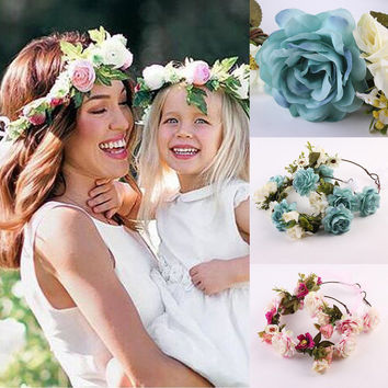 1Pcs Mom And Kids Wreath Flower Headband Travel Flower Crown Flower Girl Hair Accessories Wedding Hairbands