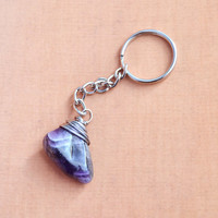 Wire Wrap Amethyst Keychain, Fashion Crystal Keychain, Mens Womens and Teen Accessories, Key Fob, Keyring, Purse Zipper Charm