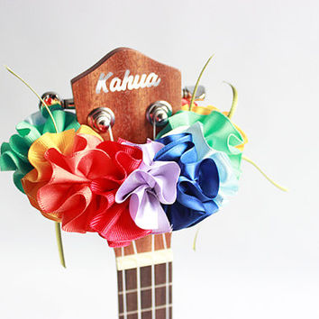 ribbon lei for ukulele (rianbow) / ukulele accessories/ ukulele decor / mandolin /hawaiian lei /satin ribbon / monstera / hibiscus