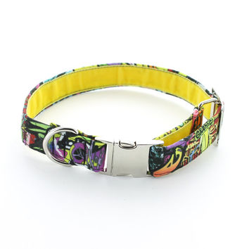 Wildstyle Graffiti Canvas Dog Collar. Handmade in UK. Metal Buckle, D-Ring, Metal Adjuster & Velvet Interior. X Small To Large Sizes