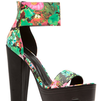 Floral Print Faux Leather Ankle Strap Lug Sole Platform Heels