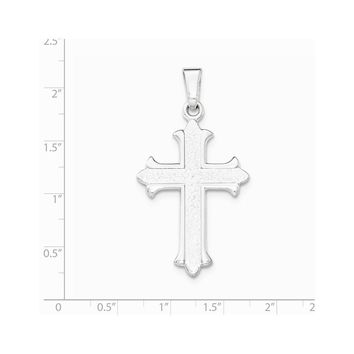 Sterling Silver Polished Textured Cross Pendant