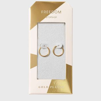 Gold Plated Sleeper Hoop Earrings | Topshop
