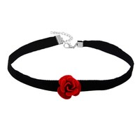 Casual Velvet Rose Choker Necklace