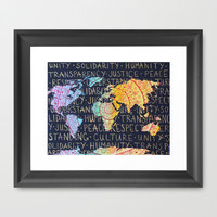 World Map  Framed Art Print by Zoë Miller