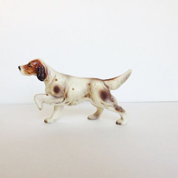 Vintage Russian/Cocker Spaniel Dog Canine Figurine Ceramic Porcelain Made by Enesco Japan