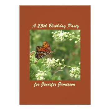 25th Birthday Party Invitation Butterfly