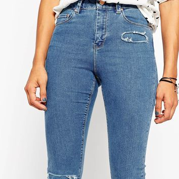 ASOS Ridley Skinny Ankle Grazer Jeans In Cypress Mid Stonewash With Rip and Repair