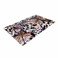 """Louise Machado """"Butterfly Wings"""" Black White Woven Area Rug"""