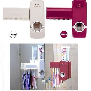 Red/White Home Brush Holder Auto Toothpaste Dispenser Squeezer Wall Mount 1PC