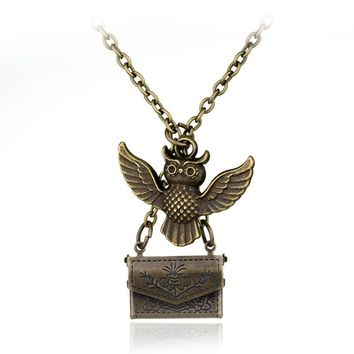 Harry Necklace Vintage Jewelry Owl Post Necklace With Hogwarts Acceptance Letter Pendant Locket Necklace Long Sweater Chain