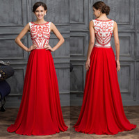 Luxury RED bridesmaid Wedding Guest Long Evening Dresses Formal Party Prom gowns