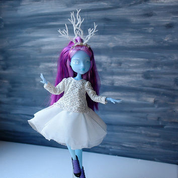 White Sparkling  Dress For Monster Doll/ MH Sparkling Fairy Dress/ White  Doll Dress/Headband with Horns/ Sparkle Horns/Multi-layered Dress