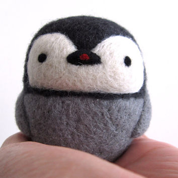 Needle Felted Penguin, Penguin Ornament, Felt Penguin, Wool Penguin, Miniature Penguin, Baby Penguin, Baby Rattle Toy, Shaker, Penguin toy