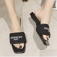 GIVENCHY PARIS Trending Women Stylish Beach Home Flats Slippers Sandals Shoes Black I11928-1