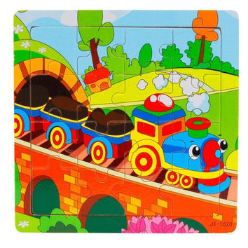 Colorful Cartoon Train Wooden Puzzle toys for Children Kids Learning Educational Toy Brain Teaser Wood Puzzles Toys
