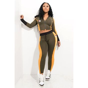 Champion tide brand female embroidery logo casual sports suit two-piece Green