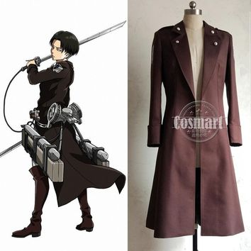 Cool Attack on Titan [STOCK]Anime  no  Figure Levi Military Uniform Trench Coat Halloween Cosplay costume for Adult AT_90_11