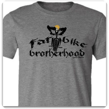 "Fat Bike T-Shirt -""Brotherhood""-Bicycle T- Shirt in a Deep Heather Grey"