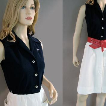 Vintage 60's Dress Preppy David Crystal Lacoste Navy Blue and White Button Up XS
