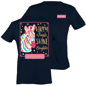 Simply Southern Preppy Zebra Happy People Shine T-Shirt