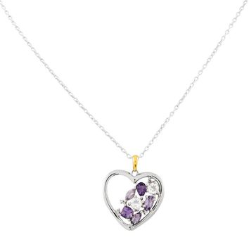 Sterling Silver & 14k Yellow Gold Amethyst Topaz and Diamond Heart Love Necklace