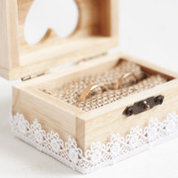 Wooden wedding box with a white lace trim - Ring bearer box, lace trim, romantic, rustic, ecofriendly, white, heart, wedding
