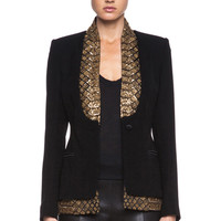 Saint Michel Poly Suiting Blazer in Black & Gold