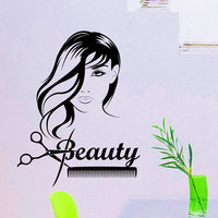 Wall Decals Beauty Salon Hair Fashion Girl Woman Haircut Scissors Hairdressing Barbershop Decal Vinyl Sticker Wall Decor Art Murals Z808