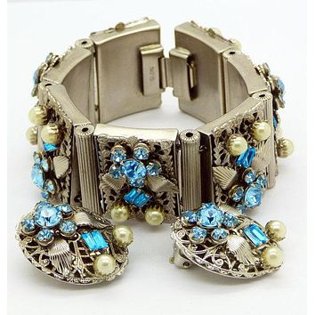 Vintage Leru Silver Tone Blue Rhinestone and Faux Pearl Panel Bracelet and Clip Earrings