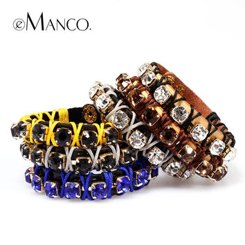 E Manco to create 2014newstyle Multicolor handmade woven leather female fashion claw chain bracelet adorn article free shipping