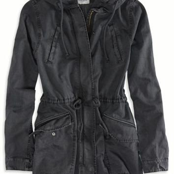 AEO Women's Hooded Utility Jacket (Ebony Grey)