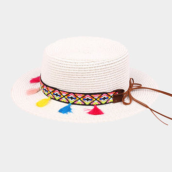 Rainbow Tassel Straw Sun Hat - White