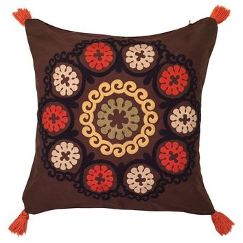 Pre-owned Embroidered Silk Suzani Tassel Pillow Cover