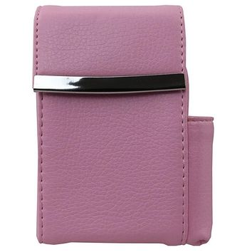Genuine Leather Pink Fliptop Cigarette Case