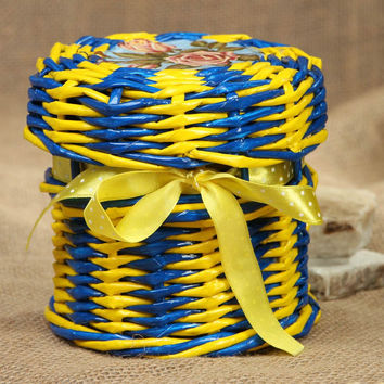 Woven paper jewelry box with unusual ribbon handmade original aceessory`s jar