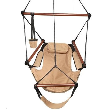Deluxe Air Hammock Hanging Patio Tree Sky Swing Chair Outdoor Porch Lounge Brown