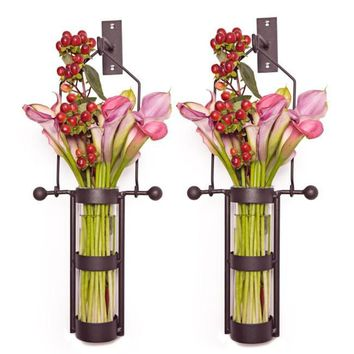 Wall Mount Metal Cradle Glass Vase Set