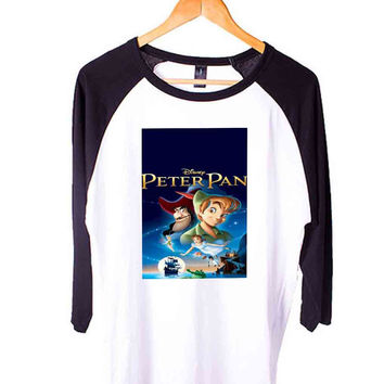 peterpanaugust20th peterpan cover Short Sleeve Raglan - White Red - White Blue - White Black XS, S, M, L, XL, AND 2XL*AD*