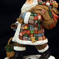 """Lang And Wise Limited Edition """"Patchwork Santa"""" 1999 With Box"""