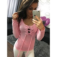 2017 spring and summer new V-neck long sleeve T-shirt with a hollow jacket
