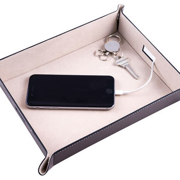 Leather Valet Tray, Brown, Other Jewelry & Storage Accessories