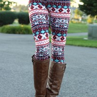 Turquoise & Red Aztec Leggings