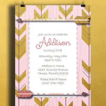 Instant Download-Arrow Tribal Aztec Pink Gold Brown DIY Printable Birthday Party Baby Girl Shower Bridal Wedding Invitation Template