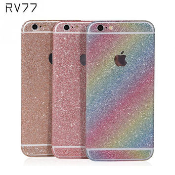 Bling Shining Vinyl Shiny Crystal Diamond Full Body Front and Back Wrap Decal Film Sticker Skin For iPhone 6/ 6S 4.7in