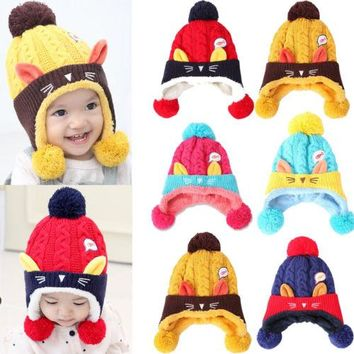 Warm Winter Baby Toddler Girls Boys Caps Hat Infant Knit Beanie Crochet Ski Ball Cap Warm Thick Baby 6-24M