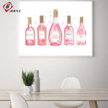Pink Rose Wine Beer Bottle Typography Fashion Art Quotes Poster Nordic Kitchen Wall Art Picture Bar Home Decor Canvas Painting