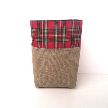 Red Plaid Linen Burlap Basket - Rustic Tartan Storage Bin - Burlap Bucket - Plaid Decor