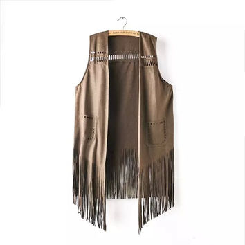 Faux Suede Leather Sleeveless Fringed Shirt